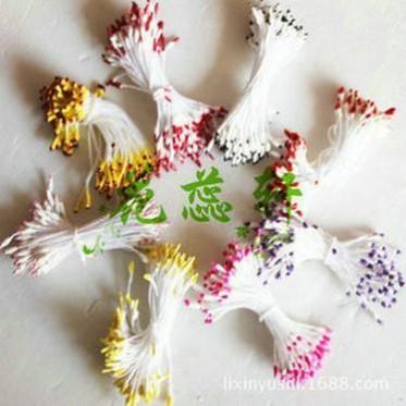水晶花丝网花材料厂家批发 仿真石膏小尖头小米粒双色珠光花芯