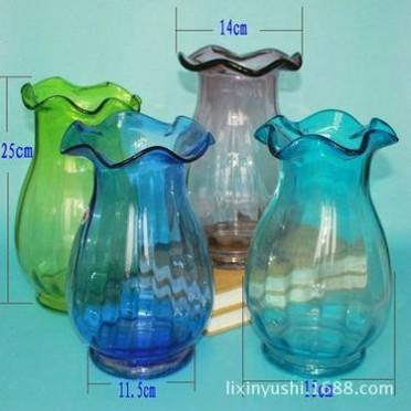 客厅办公仿真花fun88体育注册插花花器水培富贵竹百合花透明水晶玻璃大肚瓶