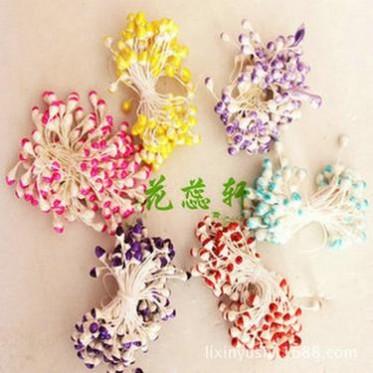 厂家直销 水晶花丝袜花丝网花材料批发大珠光双色花芯各色 包邮